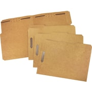 Staples® Heavy-Duty Reinforced Fastener Folders, Letter, Kraft, 50/Box