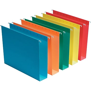Staples® Box-Bottom Hanging File Folders, Letter, 5 Tab, 2in. Capacity, Assorted, 25/Box
