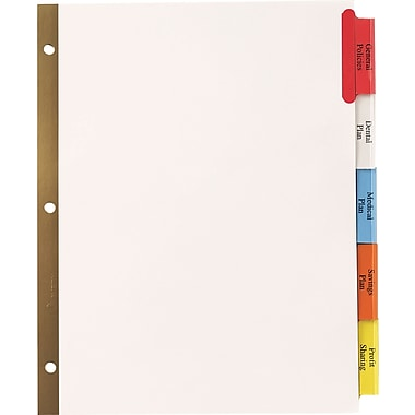 Staples Insertable Big Tab Dividers with White Paper, Multicolor, 5-Tab