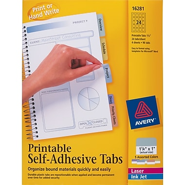 Avery 1-1/4in. Assorted Color Printable Self-Adhesive Tabs