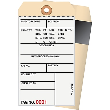Staples 2 Part Carbon Style Numbered Inventory Tags: 1,000-1,499, 500/Case