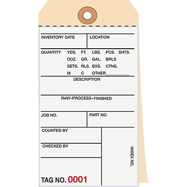 Staples® 2 Part Carbonless Numbered Inventory Tags: 1,000-1,499, 500/Case