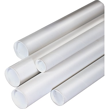Staples White Mailing Tubes, 4in. x 18in., 15/Case
