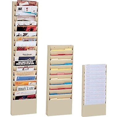 Durham Wide-Pocket Vertical Literature Racks, 11 Pocket, Tan