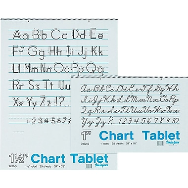Chart Tablet Writing Paper, Manuscript, 1in. Ruled, 24in. x 16in.