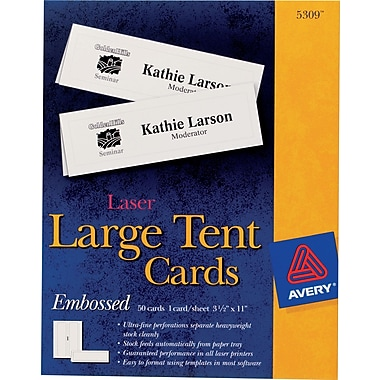 "Avery Laser & Inkjet Embossed Tent Cards, 3 1/2"" x 11"" 