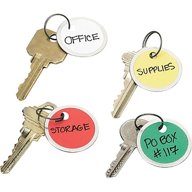 Avery® Metal Rim Tags with Metal Key Ring, Assorted, 1 1/4in. Diameter