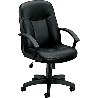 basyx by HON Leather Executive Mid-Back Chair, Black
