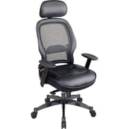 Space Seating Executive High-Back Chair with Leather Seat, Black