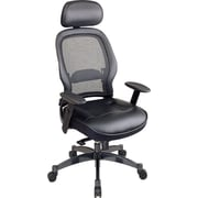 Space Seating® Executive High-Back Chair with Leather Seat, Black