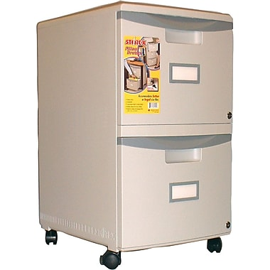 Storex 18in. Rolling 2 Drawer Mobile File Cabinet