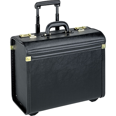 SOLO® Leather-Look Rolling Catalog Case, Black, 15.4in.