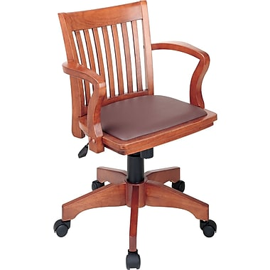 Office Star Wood Banker's Chair, Fixed Arms, Brown
