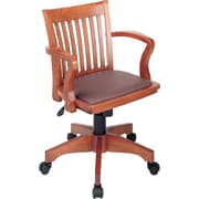 Office Star™ Wood Banker's Chair, Fruitwood Finish with Brown Vinyl Seat