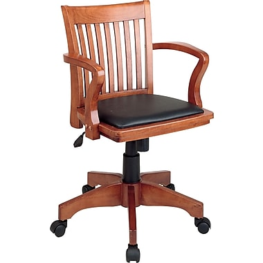 Office Star™ Wood Banker's Chair, Fruitwood Finish with Black Vinyl Seat