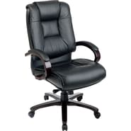 Office Star™ Leather Executive High-Back Chair, Black with Mahogany Wood Finish