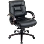 Office Star™ Leather Executive Mid-Back Chair, Black with Mahogany Wood Finish