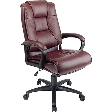 Office Star High-Back Leather Executive Chair, Fixed Arm, Burgundy