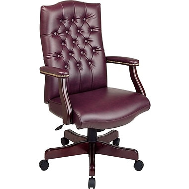 Office Star™ Burgundy Traditional Executive Chair with Mahogany Wood Finish
