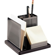 Distinctions™ Punched Gunmetal and Black Wood Desk Organizer