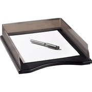 Distinctions™ Punched Gunmetal and Black Wood Stacking Front-Load Letter Tray