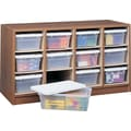 Safco® Wood 12-Bin Supplies Organizer - Bins Included