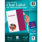 Avery® Index Maker® Clear Pocket Clear Label Tab Dividers, 8-Tab, Clear, 1 Set/Pack
