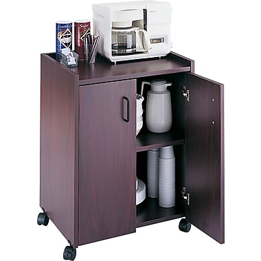Safco Mobile Refreshment Center, 31in.H x 23in.W x 18in.D, Mahogany