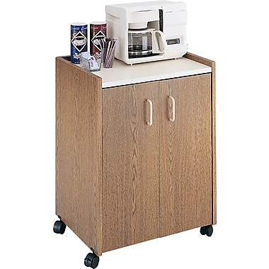 Safco Mobile Refreshment Center, 31in.H x 23in.W x 18in.D, Medium Oak with White Top