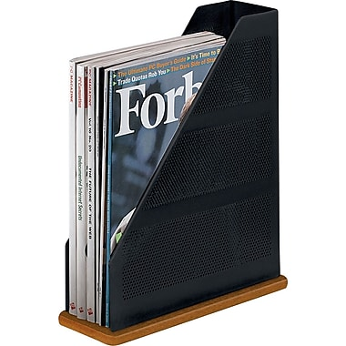 Rolodex® Distinctions™ Punched Black Metal and Cherry Wood Magazine File