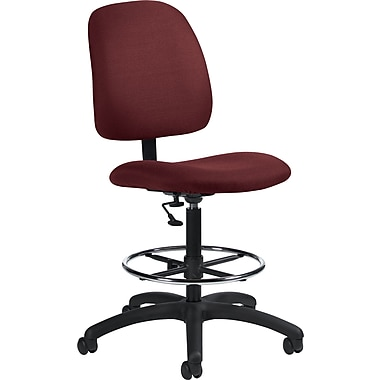 Global Goal Ergonomic Ruby Fabric Drafting Chair, Armless, Ruby