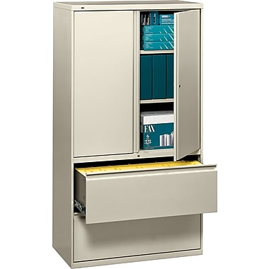 HON 700 Series Lateral File Cabinet With Storage, 36in. Wide, 2-Drawer, Putty