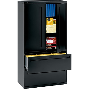 HON 700 Series Lateral File Cabinet With Storage,  36in. Wide, 2-Drawer, Black