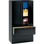"HON® 700 Series Lateral File Cabinet With Storage,  36"" Wide, 2-Drawer, Black"
