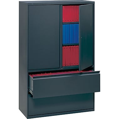 HON 700 Series Lateral File Cabinet With Storage, 36in. Wide, 2-Drawer, Charcoal