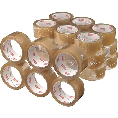 Staples® Natural Rubber Packaging Tape, Clear, 1.89in. x 109.4 yds, 36 Rolls