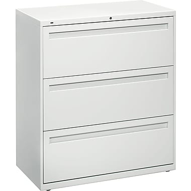 HON Brigade 800 Series Lateral File Cabinet, 36in. Wide, 3-Drawer, Light Gray