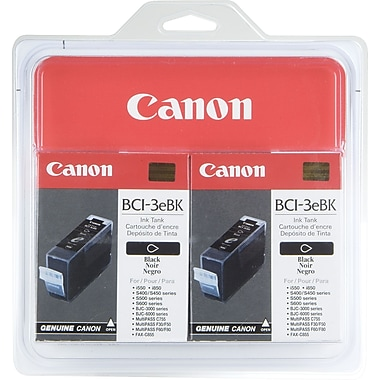 Canon BCI-3eBK Black Ink Cartridges (4479A003), 2/Pack