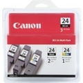 Canon BCI-24 Black (2) and Color (1) Ink Cartridges (6881A039AA), 3/Pack