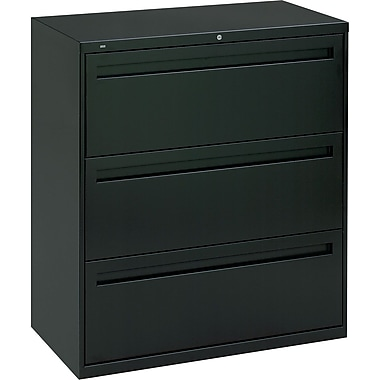 HON Brigade 700 Series Lateral File Cabinet, 36in. Wide, 3-Drawer, Black