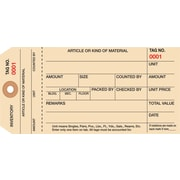 Staples® 1 Part Stub Style Numbered Inventory Tags: 3,000-3,999, 1000/Case