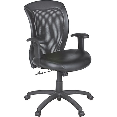 Global Airflow Leather Seat with Mesh Mid-Back Managers Chair, Black