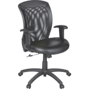 Global Airflow Bonded Leather Seat with Mesh Mid-Back Managers Chair, Black