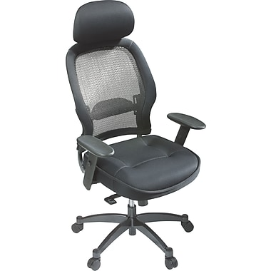 Space Seating Executive High-Back Chair with Mesh Seat, Black