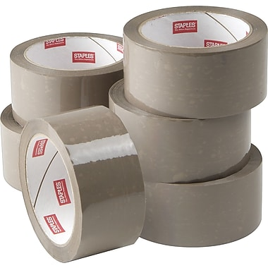 Staples® Natural Rubber Packaging Tape, Tan, 1.89in. x 54.7yds, 6 Rolls