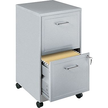 Office Designs Vertical Mobile File Cabinet, 18in. 2-Drawer, Letter Size, Silver