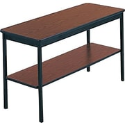 Barricks 4' Laminate Utility Table with Bottom Storage Shelf, Walnut/Black