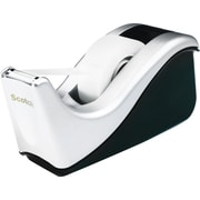 Scotch® Desktop Office Tape Dispenser, Two-Tone Silver/Black, 1 Core