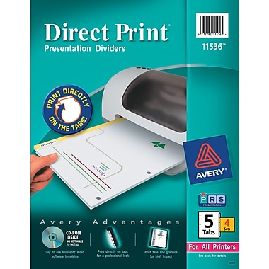 Avery Direct Print® Custom Dividers, 5-Tab, 4 Sets/Pack