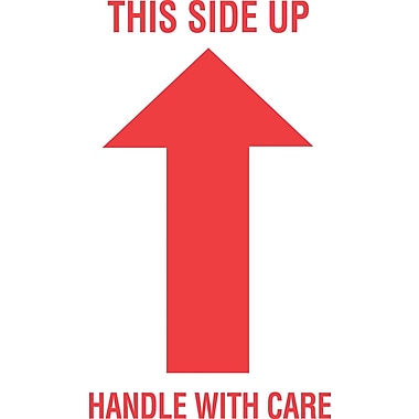 Tape Logic This Side Up/Handle with Care Staples Shipping Label, 3in. x 5in.